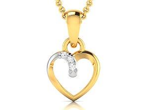 gold engagement Women heart pendant 3dm render detail