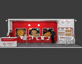 Exhibition stall 3d model 8x3 mtr 3 sides open Food Stand