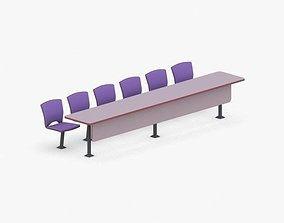 3D asset 0877 - Conference Table with Chairs