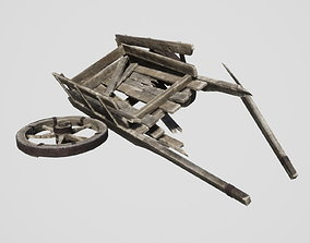 3D asset game-ready Broken Cart