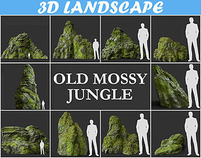 Low poly jungle mossy modular rock Pack - Game Ready 3D