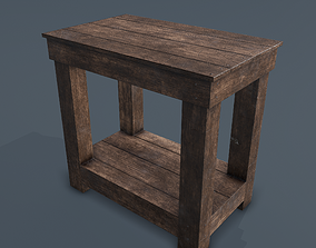 3D model low-poly PBR Wooden Bedside Table