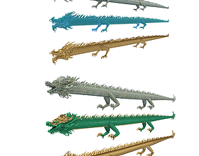 Collection of Chinese Straight Dragons 3D
