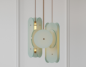 Douglas and Bec - Arc Pendant Bronze and Opal White 3D