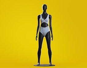 3D Woman swim Cutout Button-up One-piece