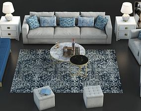 Set of furniture with carpet table 3D