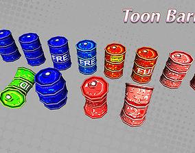 Toon Barrels 3D asset