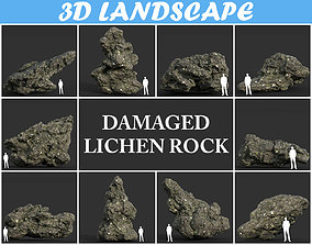 3D Low poly Damaged Lichen Rock Pack 02 190909