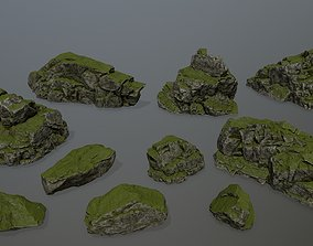 3D asset game-ready mossy rocks