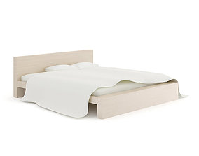 3D model Light Wooden Bed with Pillows