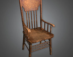 Old Wooden Chair 01 Dive Bar - PBR Game Ready 3D model