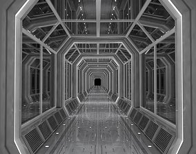 3D model low-poly Modular Corridor