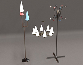 Vintage 50s Lamps and Hanger 3D asset