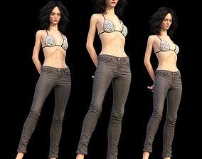 3D model Trousers Jeans Grey women Pants Clothing Fashion