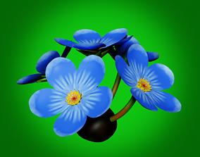 Wild Flower Blue 3D asset game-ready