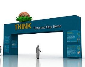 Huge ads Gate for Coronavirus-Tunal 3D asset