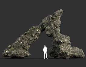 3D asset Low poly Damaged Lichen Rock 05 190907