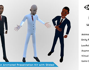 3 Business Man Presentation Animation Low Poly 3D model 3