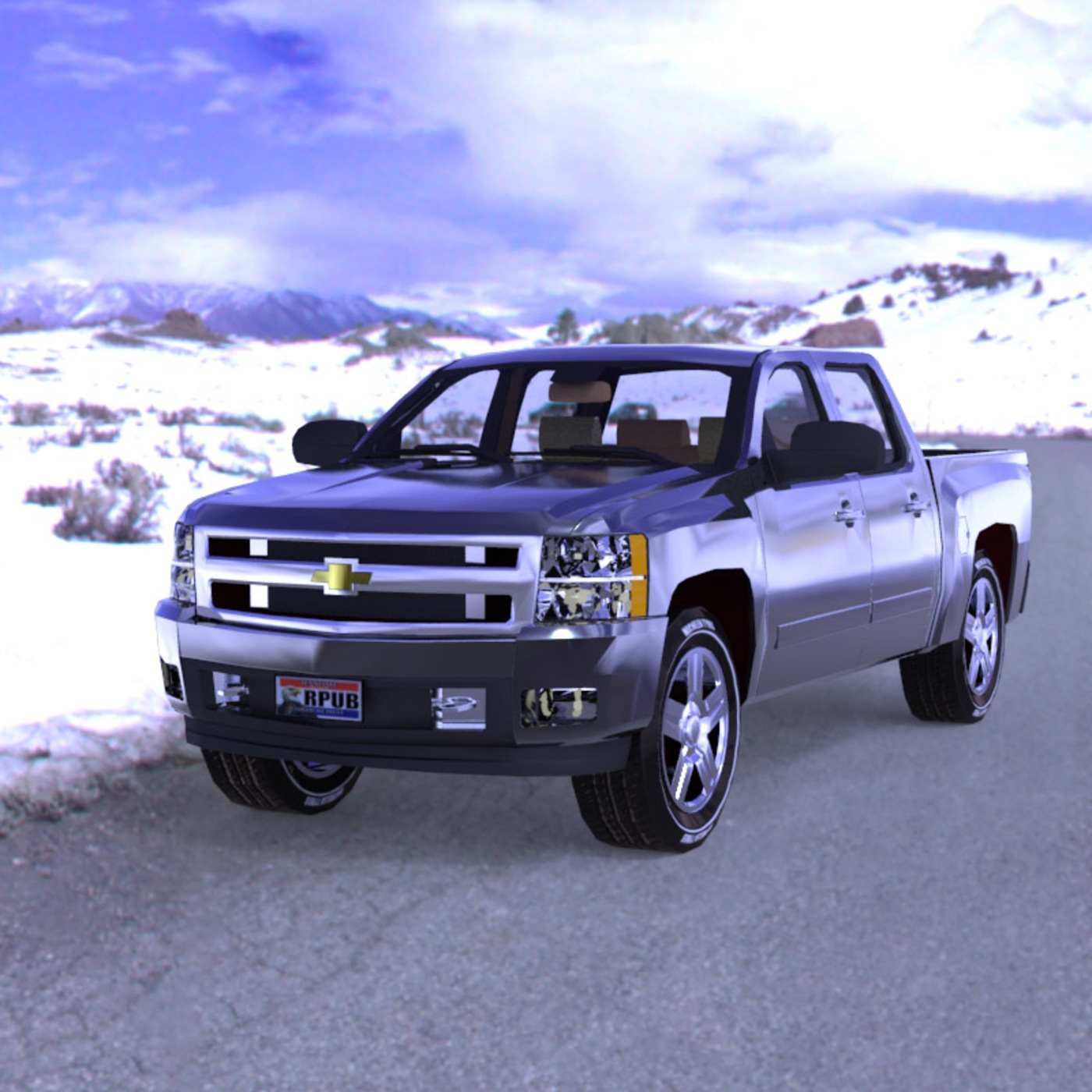 Silverado in the Snow