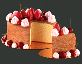 3D model Red Fruit Sponge Cake marriage