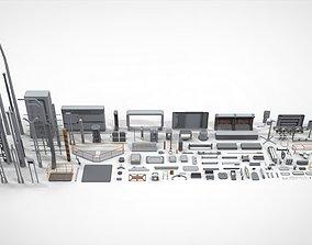 Sci-Fi architecture Elements collection 25 3D