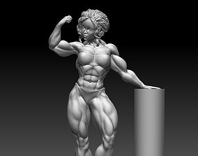 Body builder woman stand poses 3D print 3D model