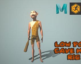 low poly caveman rig 3D asset