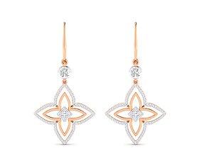 diamond luxury Women Earrings 3dm stl render detail
