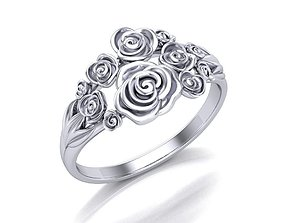 3D print model engagement Ring with roses