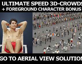 3d crowds and Prime A foreground sitting Beach Man