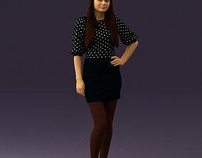 Woman in black white dots 0446 3D print model