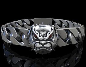 angry 3D printable model Angry Bulldog bracelet