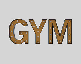 3D Gym Sign With Bulb