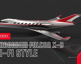 3D model Futuristic Aircraft Bombardier Falcon