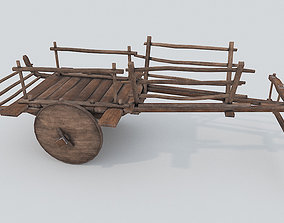 3D model Ox Cart PBR Low Poly Improved