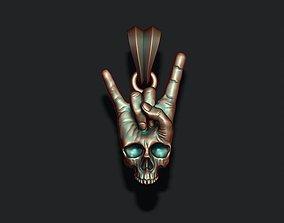3D print model Rock skull hand pendant