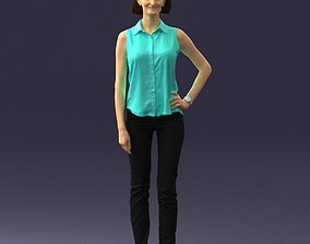 Woman with short hair in blouse 0103 3D Print Ready