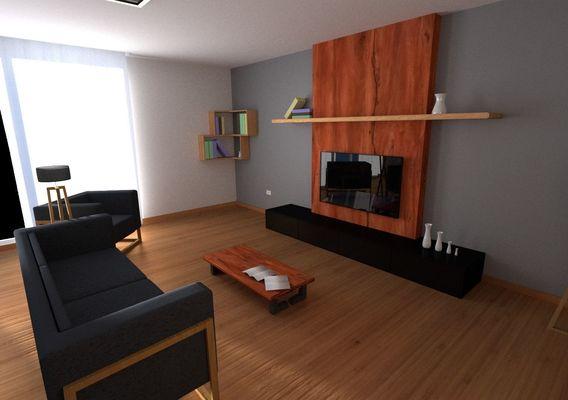 Wood & Black Livingroom