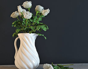 White roses in a jug 3D