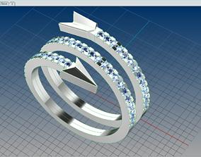 Arrow Ring with diamonds S54 3D printable model