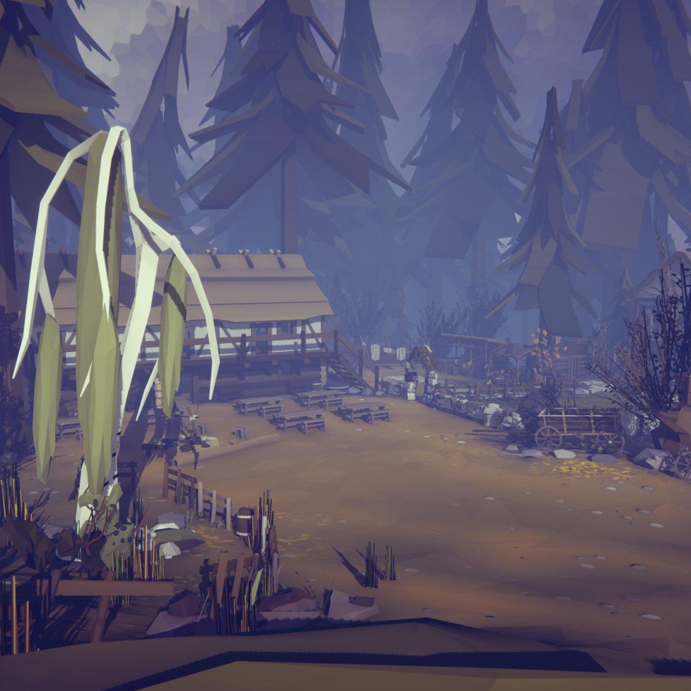 low poly village landscape