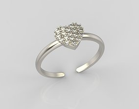 silver Ring heart 3D printable model
