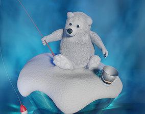 3D asset rigged Cartoon white bear