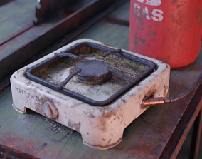 Small Old Gas Stove 3D asset