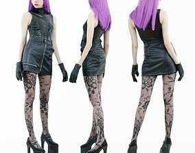 3D asset Hot Purple Hair Girl in High Heels and Stockings
