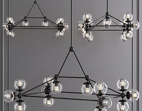 3D model Modo Rectangle Chandelier 14 Globes Black and 1