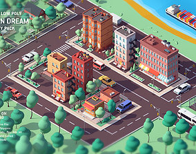 3D model Cartoon Low Poly American Dream City Pack