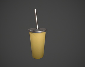 3D asset Yellow Tumbler with Straw