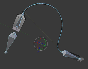 3D USB 3 Cable High Poly Version Rigged And