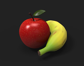3D asset realtime Apple and Banana